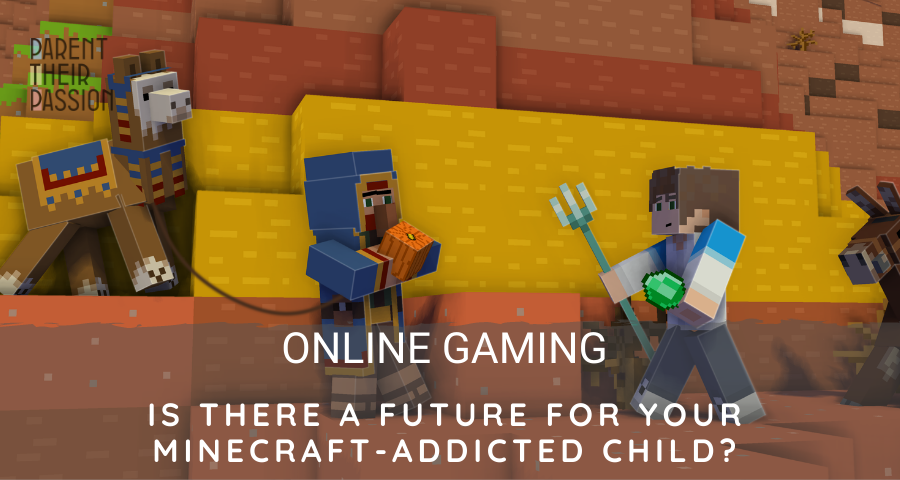 Minecraft image created by a 14 year old kids with the text: is there a future for your minecraft-addicted kid?